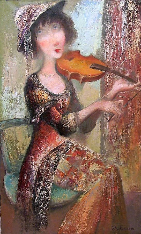 La Violoniste by Emzar Khabuliani (b1963; Tbilisi, Georgia)