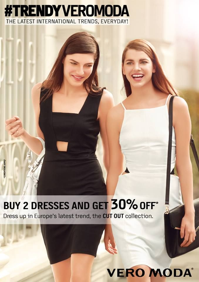 Cut-out dresses are a favourite summer trend. We at #VEROMODA bring you a reason to rejoice this enticing offer this season! Buy two dresses and get 30% OFF! Rush at #ForumCourtyard StoreTODAY! #TRENDYVEROMODA