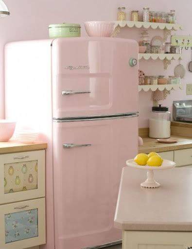 Gorgeous kitchen with pink fridge. Love the scalloped shelves
