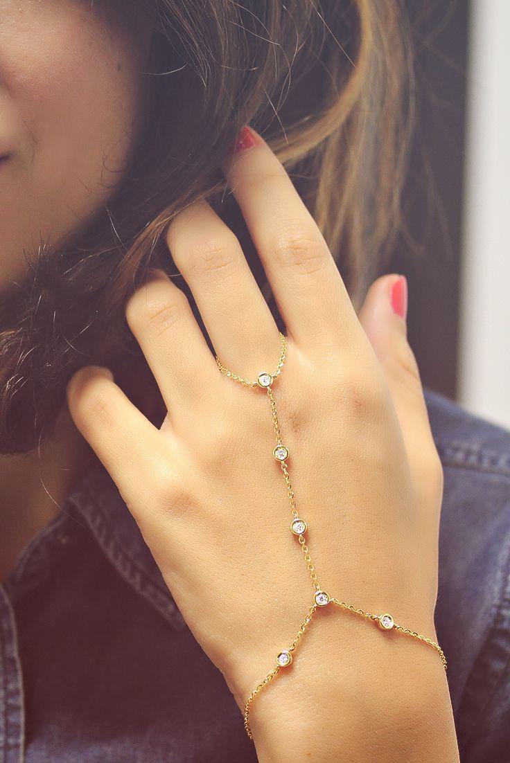 Diamonds by the yard hand Bracelet. Ring Bracelet Hand Chain - Slave Bracelet - 14K Gold, 0.35 Carat Diamonds