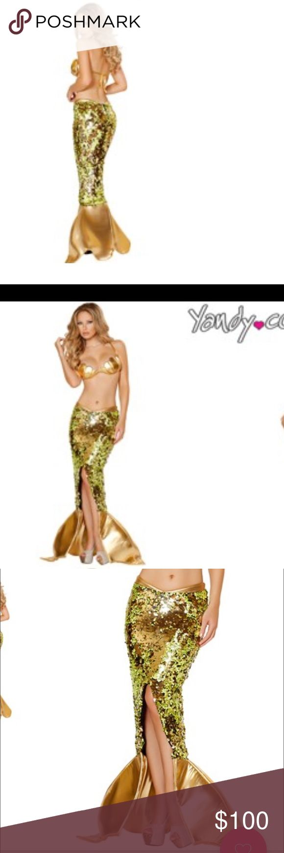 Sexy Sea Siren GOLD sequin mermaid 2 Pc costume Sexy Sea Siren GOLD sequin mermaid Halloween costume. Size Medium. Never worn. Bought multiple costume for a charity event then ended up making one instead. (Plus top is too small for me) ROMA Other
