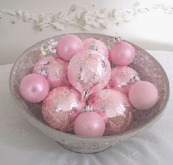 Beautiful, delicate pink ornaments!!! Bebe'!!! Love these silvery kissed pink glass ornaments!!!