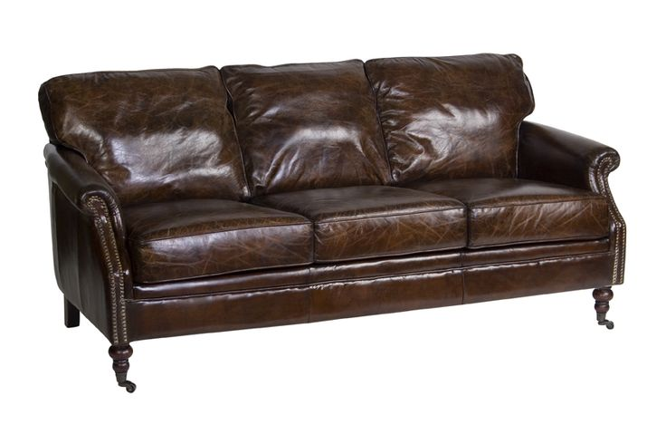 Newport Aged Leather 3 Seater Lounge - Canalside Interiors