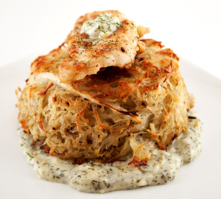 Fried Walleye Potato Cakes With Creamy Dill Sauce