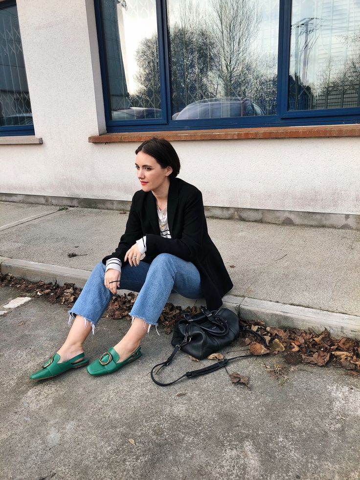 Green flats from uterque, green buckle shoes, Re/done jeans, belstaff bag