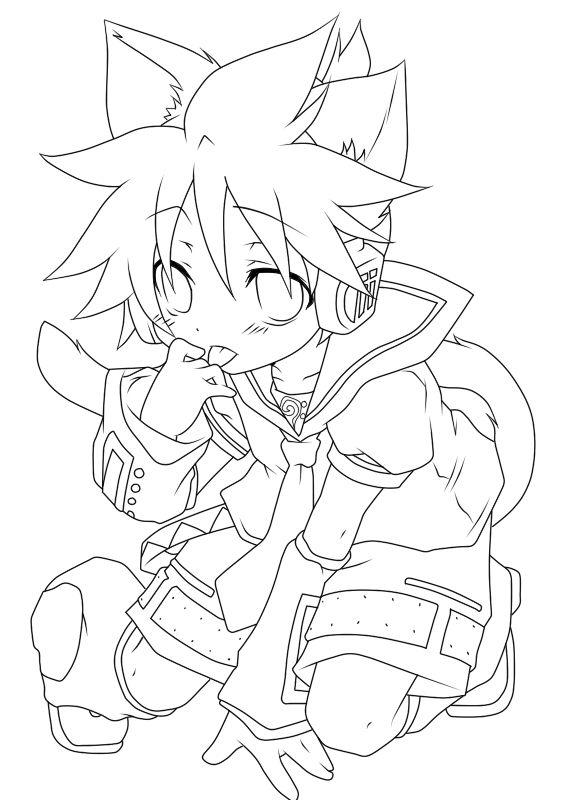 Lineart Kagamine Len Anime Character Drawing Anime Lineart Anime Drawings