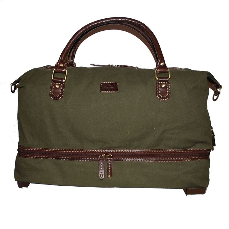Bag stor kakigrön canvas med bruna läderdetaljer The Monte 57098  1499 kr