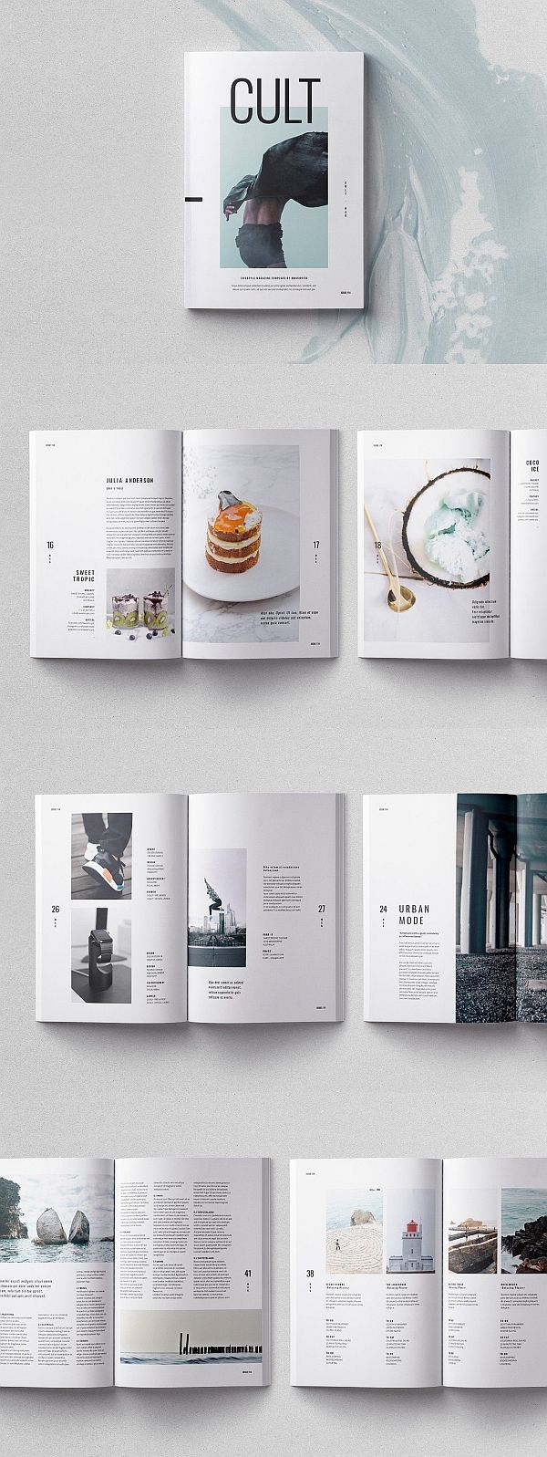 44 Seiten InDesign Template / Cult Magazine