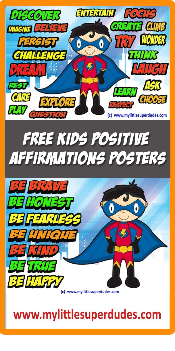 superhero themed positive affirmations posters for kids