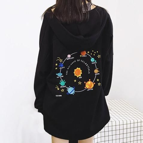 solar system hoodie planet galaxy, soft grunge, aesthetic outfit, hoodie, pale grunge, style