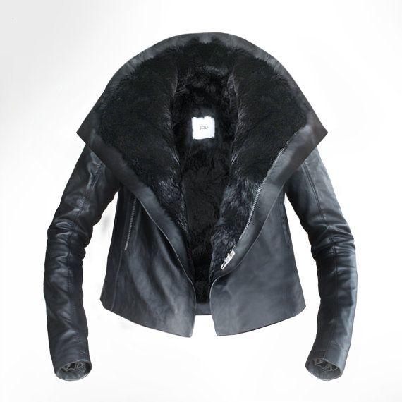 Custom Black Rabbit lined Leather Biker Jacket by by JODClothing