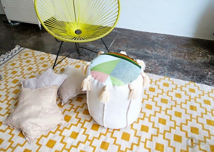 Make a pouf chair DIY for your small space with this free tutorial. These homemade floor pillows are perfect small space solutions for seating and foot rests.