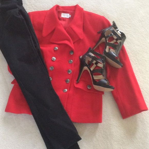 Red military style jacket Double breasted military style jacket. Has a very slight water stain under lapel.  I took a pic of it 2nd picture listed.  You can't see the mark very well but wanted to mention it. Jackets & Coats