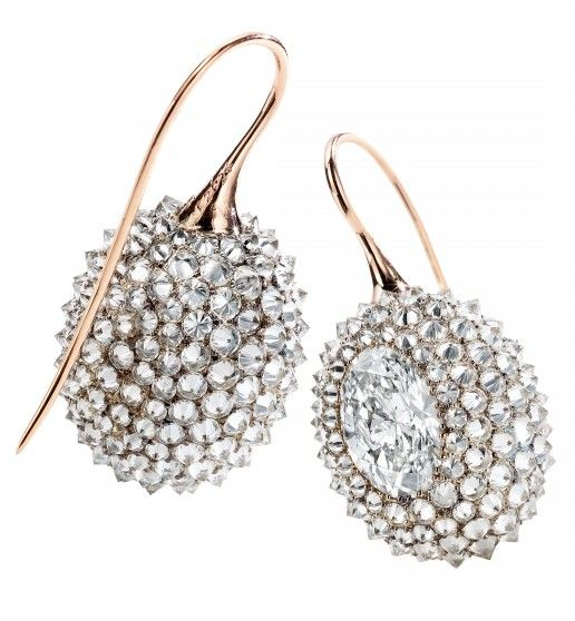 Durian Earrings – Each centering an oval-cut diamond, weighing a total of 4.02 carats, with additional pavé set diamonds. Mounted in 18k gold.