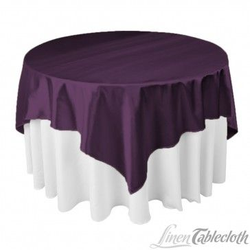 72 Inch Square Satin Overlay Eggplant On A 60 Inch Round Table