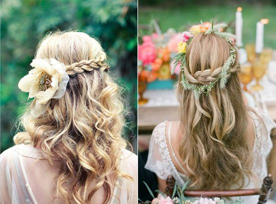 Floral Bridal Crowns Flower half up summer wedding hair cuts 2014