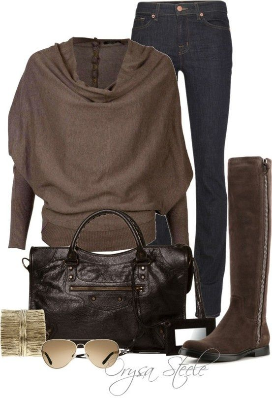 skinny jeans knee boots and cashmere I just don't like the bag.