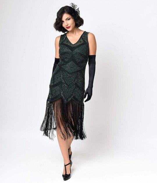 Iconic by UV Green Beaded Mesh Isadora Fringe Flapper Dress