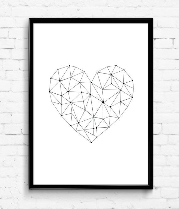 Simple Geometric Heart Black and White Wall Print by Printic