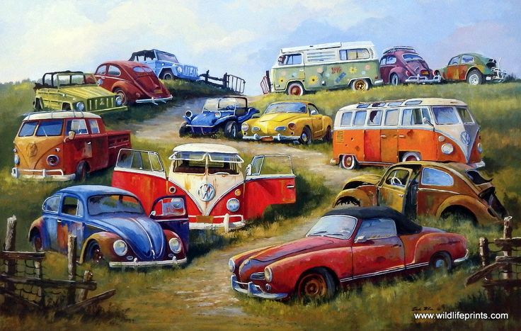 Artist Dale Klee Unframed Old Volkswagen Print Bugs and Things | WildlifePrints.com
