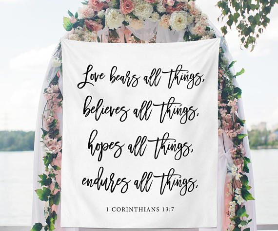 Wedding Backdrop For Ceremony Church Wedding Decorations Bible Verse Wedding Banner Love Be Wedding Backdrop Wedding Decor Elegant Wedding Ceremony Backdrop