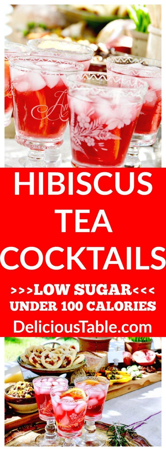 Low sugar and under 100 calories, these skinny Hibiscus Tea Cocktails are low carb, vegan, and gluten-free. A refreshing festive drink, that is healthier! via @www.pinterest.com/delicioustable #cocktailrecipes #lowsugarrecipes #lowcarbrecipes #glutenfreerecipes