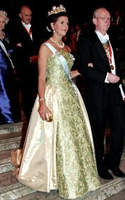 1996 - Queen Silvia descending the stairs to the Nobel Banquet.