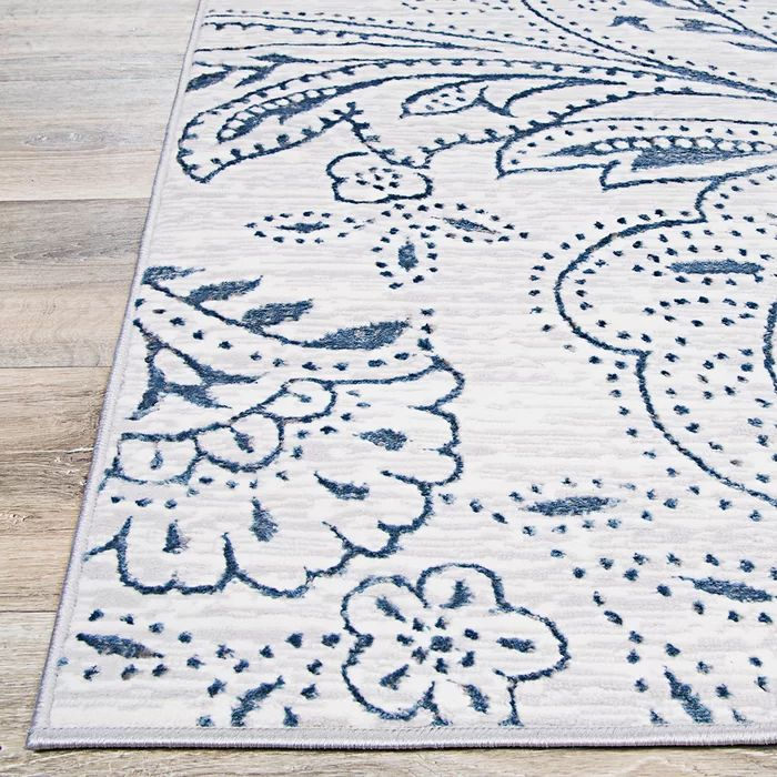 Karmane Floral White Blue Area Rug In 2020 Floral Rug Rugs Blue Area Rugs