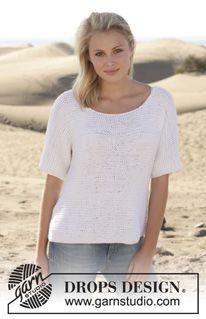 "Summer Lights - Knitted DROPS jumper in garter st in ""Paris"". Size: S - XXXL. - Free pattern by DROPS Design"
