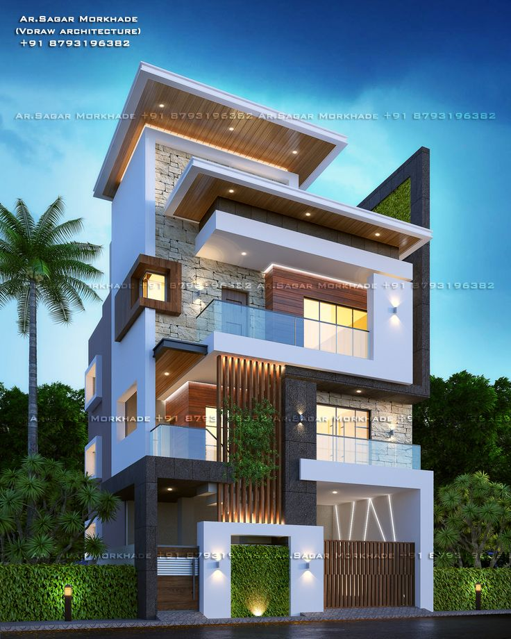 Modern House Bungalow Exterior By Ar Sagar Morkhade Vdraw Architecture 91 8793196382: Pin On SGR Work