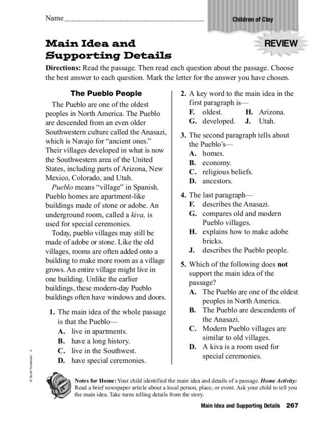 Main Idea and Supporting Details 3rd - 5th Grade Worksheet | Lesson Planet
