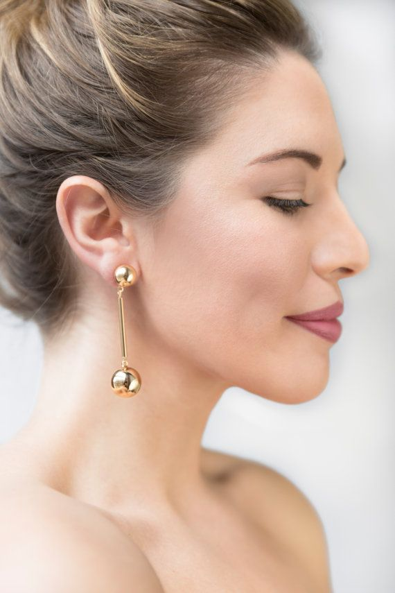 Gold Dangle Drop Earring / Geometric Earrings / Christmas
