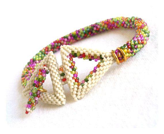Peyote Triángulo de pulsera, el ganchillo del grano pulsera de la cuerda…