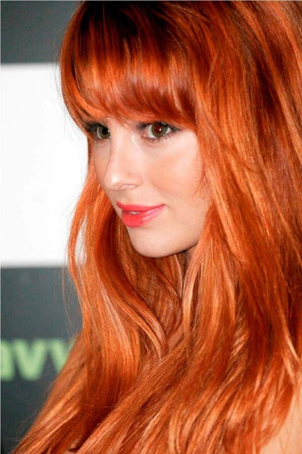 Copper hairstyles with bangs