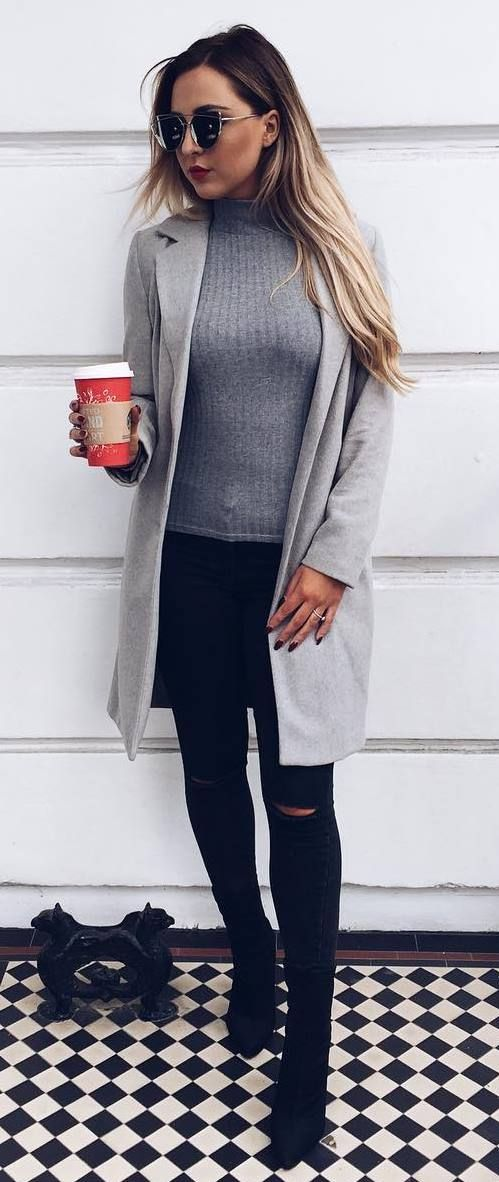 cool casual style grey coat + top + rips + boots