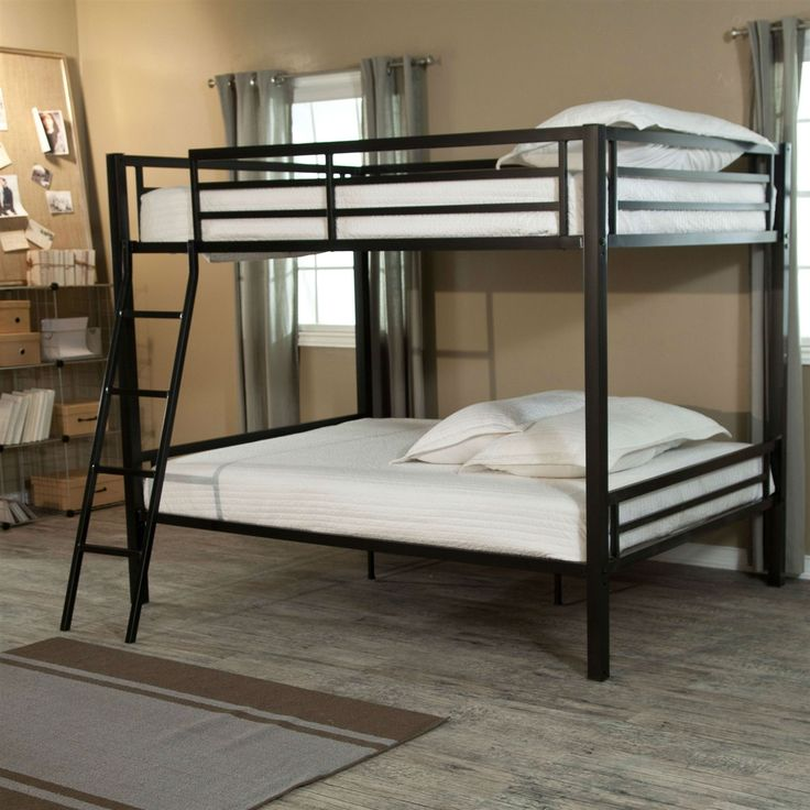 Full over Full Bunk Bed with Ladder and Safety Rails in Black Metal Finish