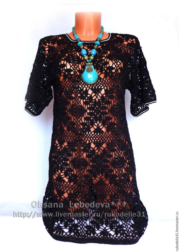 Купить Платье туника черная крючком из хлопка летнее вечернее свитер - платье пляжное