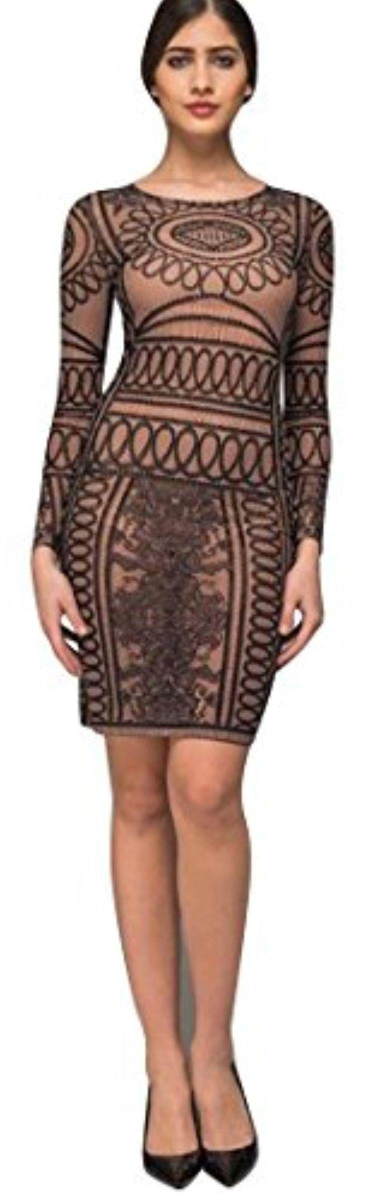 Kiki Riki Women's Semi-Sheer Rhinestone Patterned Short Dress - Brought to you by Avarsha.com
