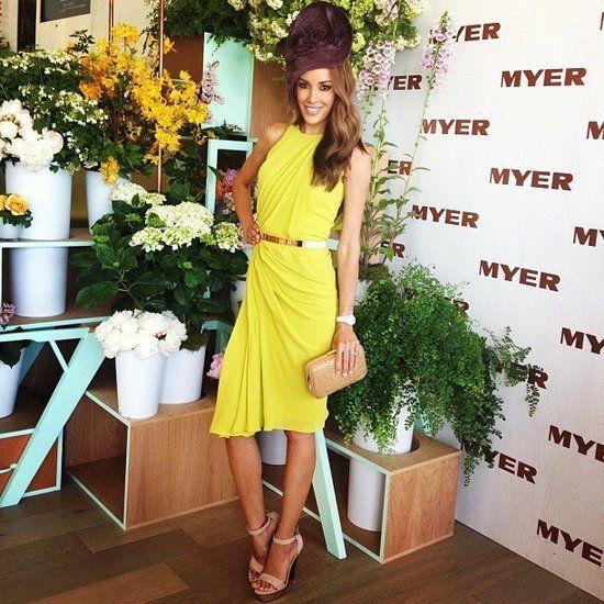 Rebecca Judd: 2013 Oaks Day. Yellow drape dress.