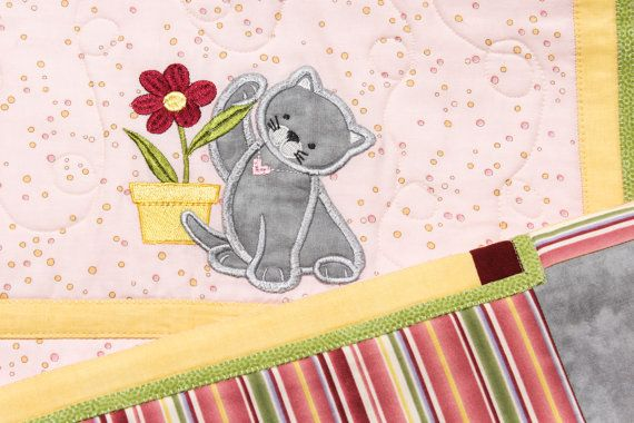 Kitten Applique Quilt. Baby blanket. Baby by BagsPursesEmbroidery