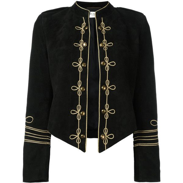 Saint Laurent military style blazer (5,135 CAD) ❤ liked on Polyvore featuring outerwear, jackets, blazers, black, leather sleeve jacket, leather blazer jacket, military style blazer, military leather jacket and embroidered jacket