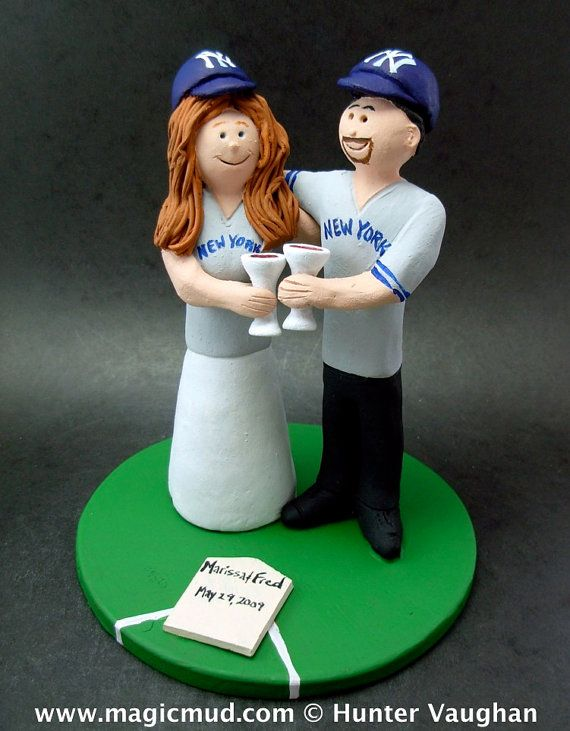Yankees Bride and Groom Baseball Wedding Cake Topper    Wedding Cake Topper for MLB Baseball Fans, custom created for you!    $235   #magicmud   1 800 231 9814   www.magicmud.com