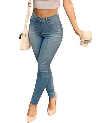 Moollyfox Retro Slim Taille Haute Leggings Collant Crayon Push Up Pantalon  Denim pour Femmes Bleu XL 69f47af5bf9