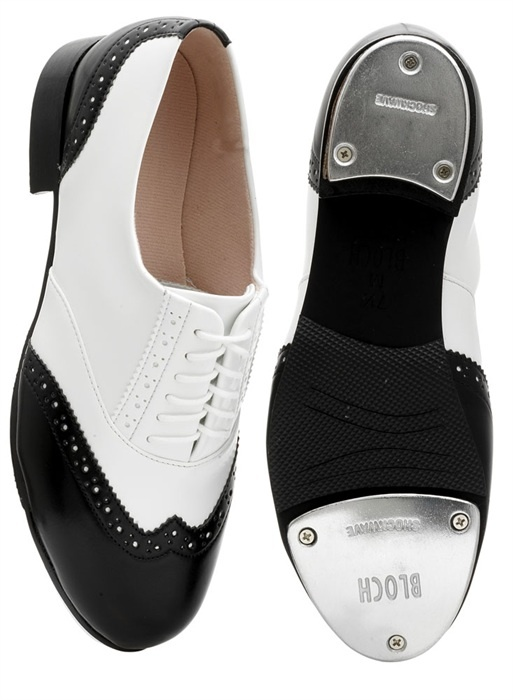 Bloch 341 Black/White Charleston Tap Shoes. Price from £39.95 at www.dancinginthestreet.com. #tapdance Classic oxford tap shoes with brogue detailing. Steel resonating plates for optimum depth and pitch. Soft dri-lex lining and cushioned sole add comfort and shock absorbtion. Synthetic upper, leather sole and shockwave tap plates.