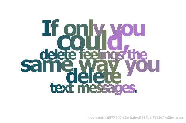 If only you could, delete feelings the same way you delete text messages. t e v e r I love you babe<3 forever and ever<3  - Witty Profiles Quote 5731024 http://wittyprofiles.com/q/5731024