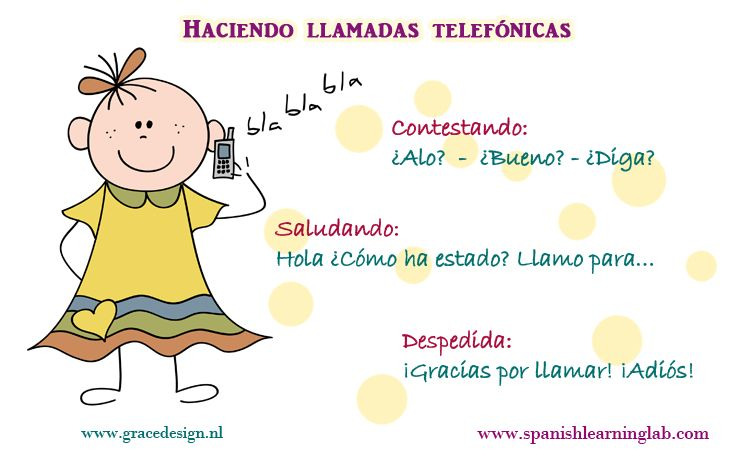"Making phone calls in Spanish: mini-conversations, tips & practice. This lesson covers a few of these ""frases y preguntas"" through several mini-conversations in Spanish, plus some interesting tips and a quiz so you can see how easy is to make a simple phone call in Spanish – una llamada telefónica. http://www.spanishlearninglab.com/telephone-calls-in-spanish/"
