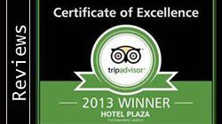 Plaza Hotel is 2013 Winner of the Certificate of Excellnce from Trip Advisor!