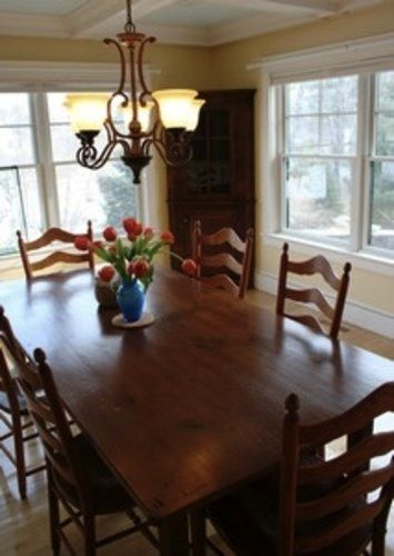 Custom harvest Rustic Farm Table In Clients Home finished with brown cherry…