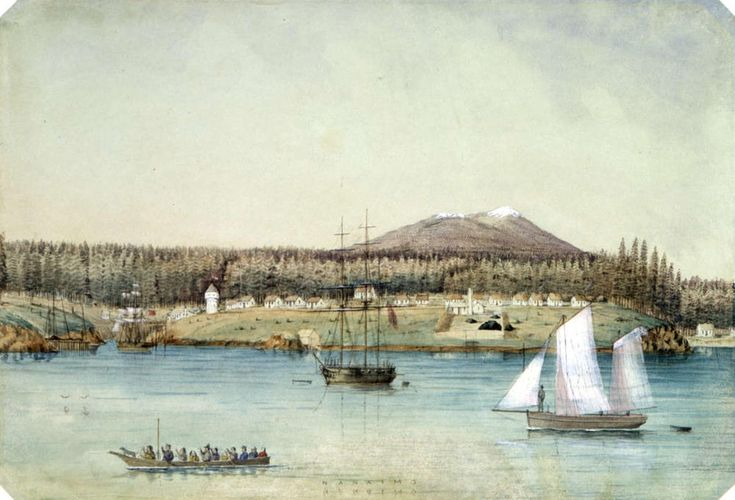 """Nanaimo"". Watercolour by Edward Parker Bedwell. Image courtesy Royal BC Museum/BC Archives/PDP-02614."