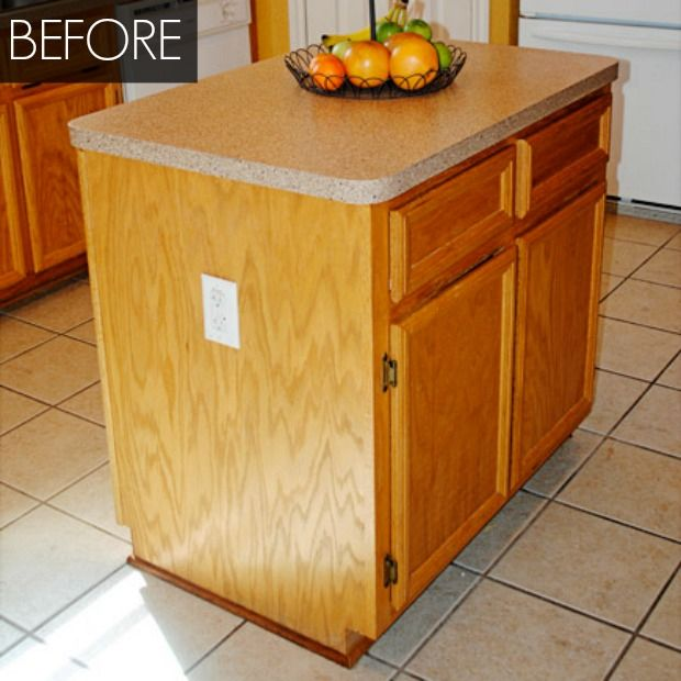 Kitchen Island Makeover - Kitchen Before and After